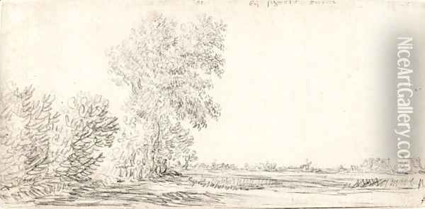 Landscape With A Row Of Trees And A Village In The Distance Oil Painting - Jan van Goyen
