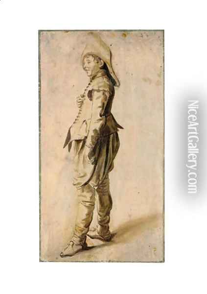Study Of A Standing Youth In A Hat Oil Painting - Dirck Hals