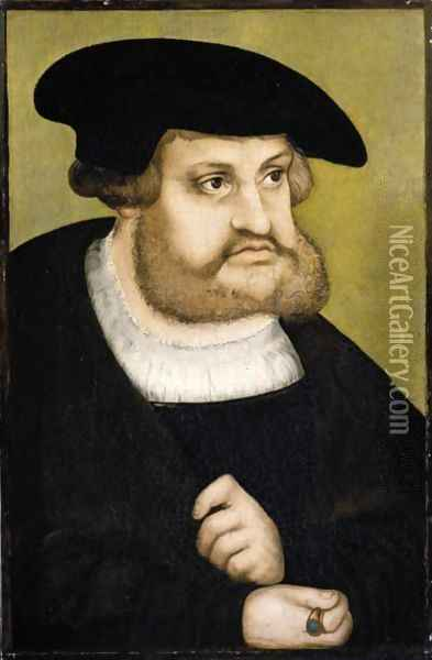Portrait Of The Elector Frederick III 'The Wise' Of Saxony (1463-1525) Oil Painting - Lucas The Elder Cranach