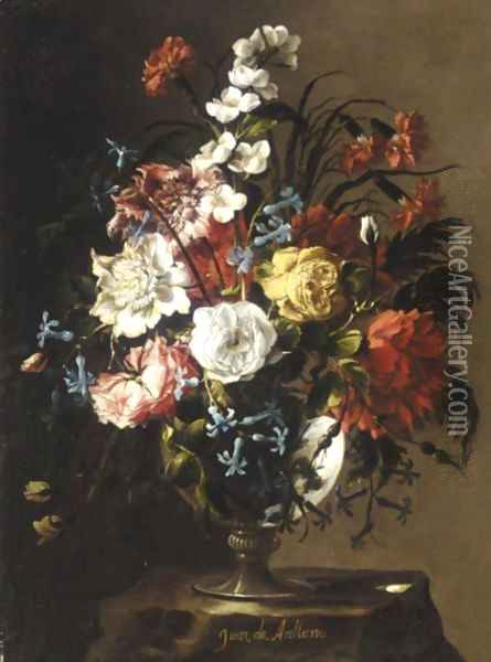 Still Life Of Roses, Carnations, Anemonies, Syringa, Peonies And Hyacinths In A Glass Vase, Upon A Stone Plinth Oil Painting - Juan De Arellano