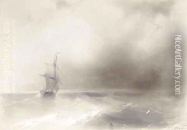 Ship On High Seas Oil Painting - Ivan Konstantinovich Aivazovsky
