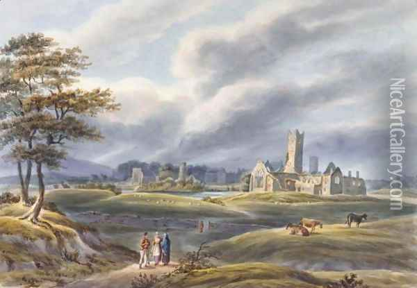 A landscape with figures and a church in the background Oil Painting - Count Alexandre Thomas Francia