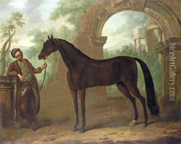 The Great Stallion, The Godolphin Arabian, In An Architectural Landscape Held By A Groom Oil Painting - John Wootton