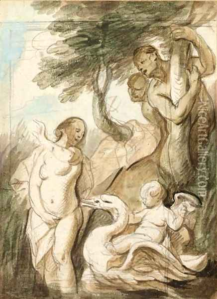 A Bathing Nymph Surprised By Satyrs, A Putto Riding A Swan Beside Her Oil Painting - Jacob Jordaens