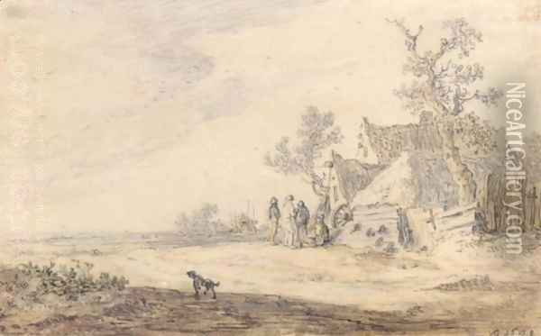 A Rural Landscape With A Farm, Haystack And Peasants Oil Painting - Jan van Goyen