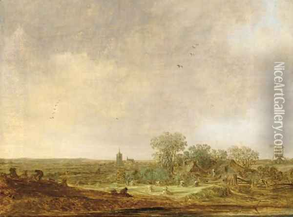 An Extensive Dune Landscape With Corn Stooks And A Mill And A Distant Oil Painting - Jan van Goyen