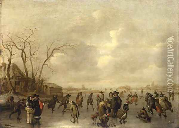 A Winter Landscape With Skaters, Figures Playing Kolf And A Boy On A Sleigh On A Frozen River, A Farmhouse To The Left Oil Painting - Adriaen Lievensz van der Poel