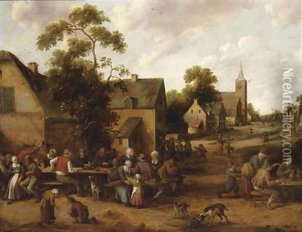 A Village Scene With Peasants Drinking And Smoking Around Tables Oil Painting - Joost Cornelisz. Droochsloot