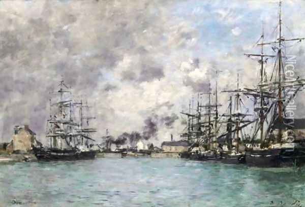 Deauville-Le Bassin 3 Oil Painting - Eugene Boudin