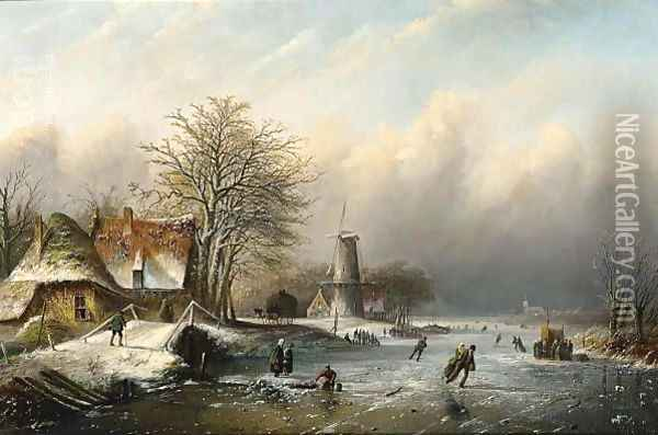 A Winter Landscape With Figures On The Ice Oil Painting - Jan Jacob Coenraad Spohler