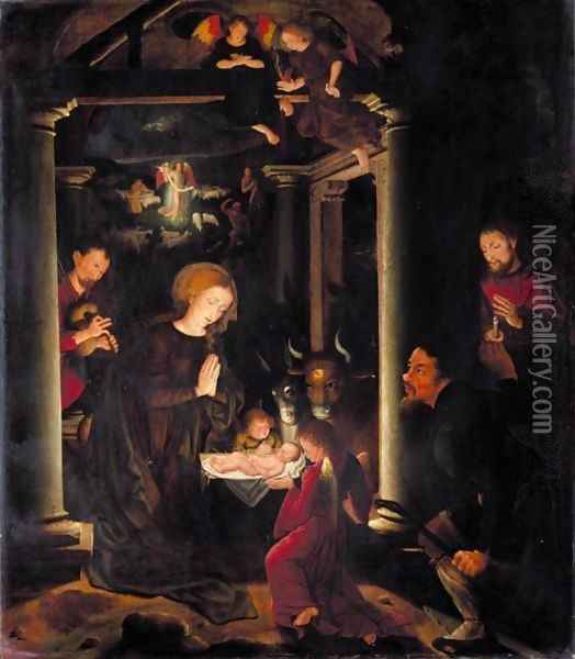 The Adoration Of The Shepherds, With The Annunciation To The Shepherds Beyond Oil Painting - Bruges