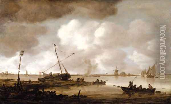 An Estuary Scene With A Fishing-Boat In The Foreground, And Figures Caulking A Small Dutch Vessel Beyond Oil Painting - Jan van Goyen