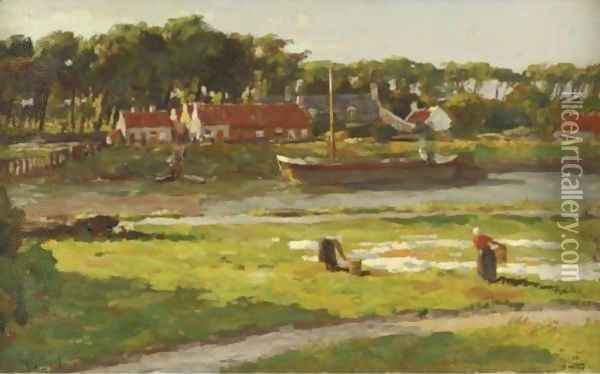 Washerwomen By A Stream Oil Painting - Victor Olivier Gilsoul