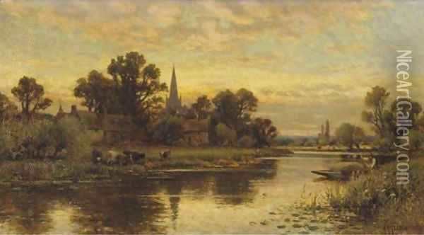 Landscape With Cattle Watering By A Stream Oil Painting - Alfred Glendening