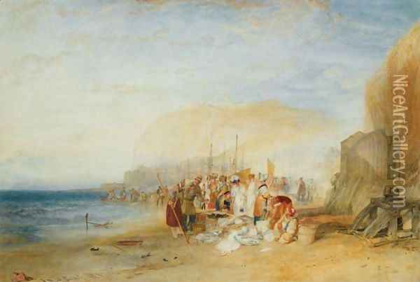 Hastings Fish Market On The Sands, Early Morning Oil Painting - Joseph Mallord William Turner