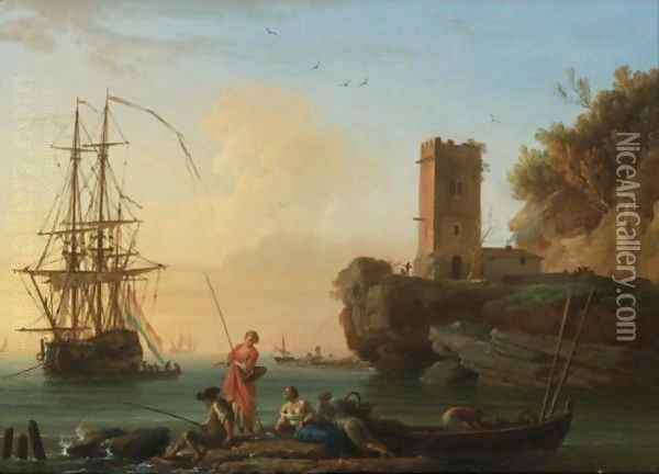 A Coastal Landscape At Dusk With Fishermen And Women In The Foreground, Sailors Disembarking From A Ship Beyond Oil Painting - Claude-joseph Vernet