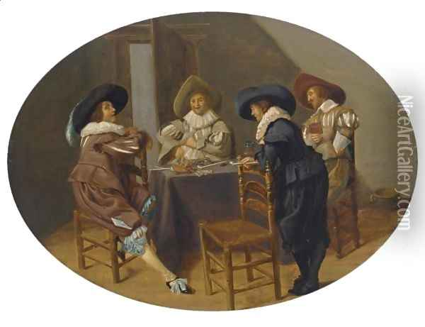 An Elegant Company Smoking And Drinking In An Interior Oil Painting - Dirck Hals