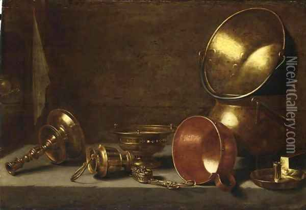 A Still Life With Copper Candlesticks, Pots And Pans On A Stone Ledge Oil Painting - Floris Gerritsz. van Schooten
