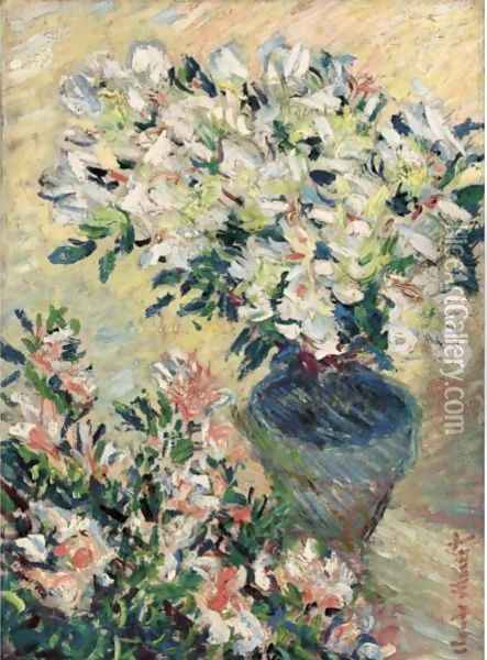 Azalees Blanches En Pot Oil Painting - Claude Oscar Monet