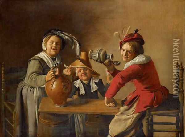 An Interior With Children Drinking And Mischief-Making Oil Painting - Jan Miense Molenaer