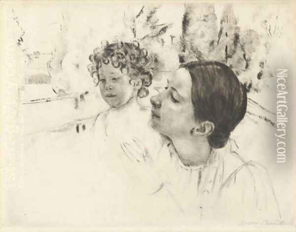 By The Pond 2 Oil Painting - Mary Cassatt