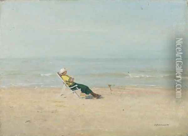 Marie-Louise On The Beach, 1920 Oil Painting - Ivan Pavlovich Pokhitonov