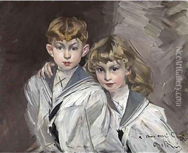 Portrait Of Eddy And Jacques Copper Oil Painting - Giovanni Boldini