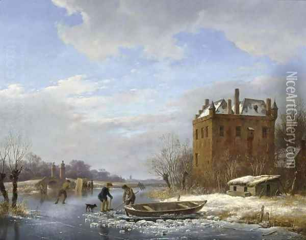 A Winter Landscape With Figures On The Ice Oil Painting - Andreas Schelfhout