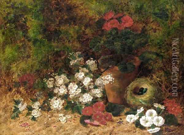 Still Life With Flowers And A Bird Nest Oil Painting - Oliver Clare