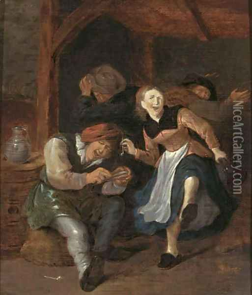 A Merry Company In An Interior Singing And Dancing Oil Painting - Jan Miense Molenaer