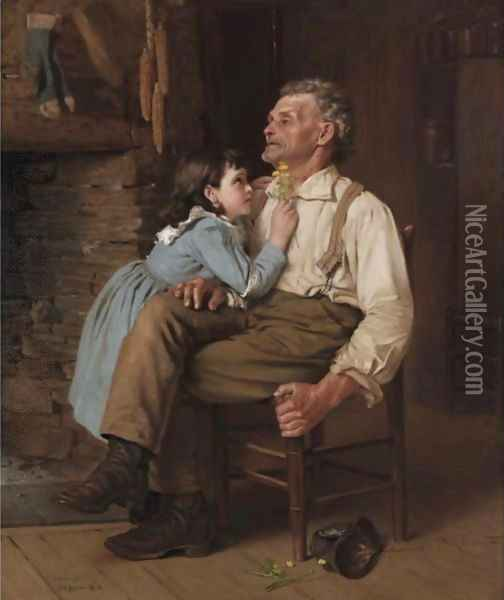 Buttercups For Grandpa Oil Painting - John George Brown