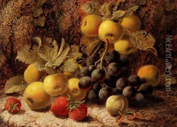 Still Life With Grapes And Strawberries Oil Painting - George Clare