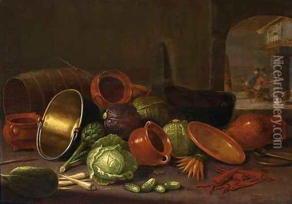 A Still Life With Earthenware Pots, A Barrel, Cabbages, Carrots, And Gherkins In The Foreground Oil Painting - Floris Gerritsz. van Schooten