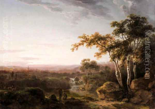 Landscape With Figures At Landscape Oil Painting - Abraham Pether