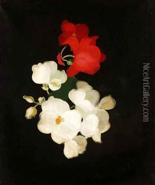 Red And White Roses 2 Oil Painting - James Stuart Park