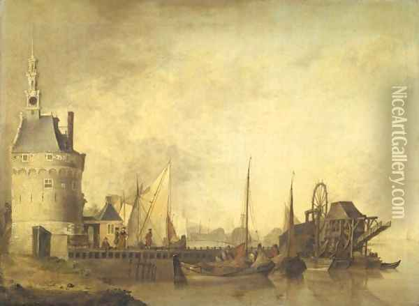 A Canal Scene With Elegant Figures On A Quay, Together With Peasants Loading Barges Oil Painting - Jan van Os