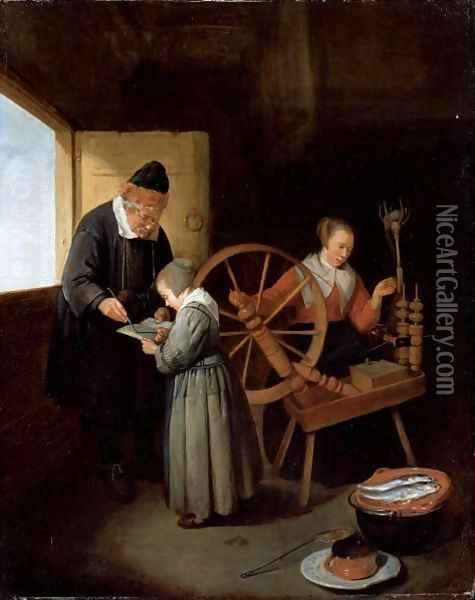 Interior With A School Master Teaching A Young Girl To Read, Another Girl Seated At A Spinning Wheel Oil Painting - Quiringh Gerritsz. van Brekelenkam