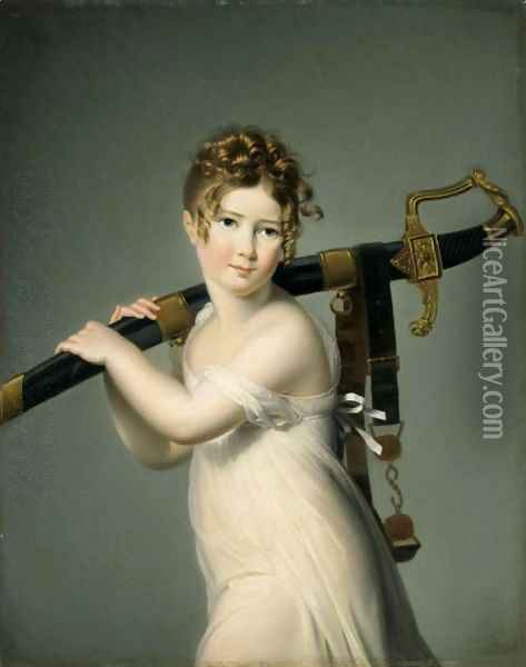 A Young Girl Carrying Her Father's Sabre Oil Painting - Jeanne-Elisabeth Chaudet