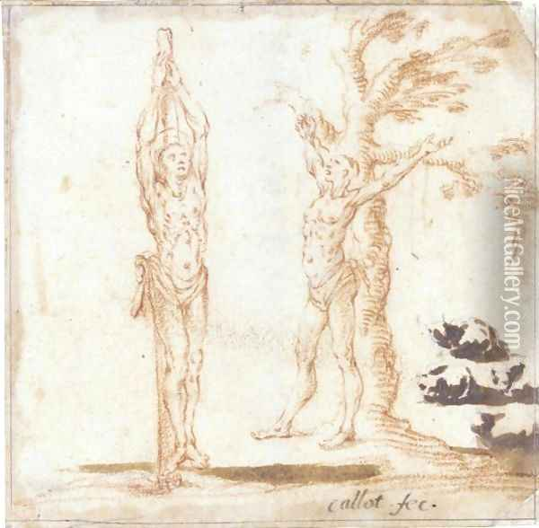 Studies For Figures Of St. Sebastian And St. Bartholomew, And Of Cats Oil Painting - Jacques Callot