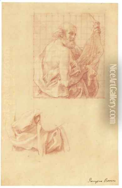 Study For A Painting Of St Bartholomew, And A Further Study Of His Drapery Oil Painting - Pompeo Gerolamo Batoni