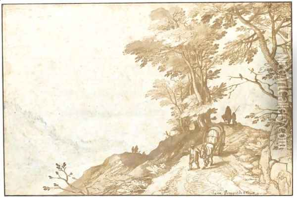 Extensive Landscape With A Peasant Leading A Waggon Between Trees To The Right Oil Painting - Jan The Elder Brueghel