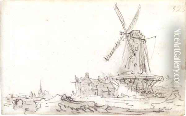 Landscape With A Large Windmill On A Farm, A Church Spire In The Distance Oil Painting - Jan van Goyen