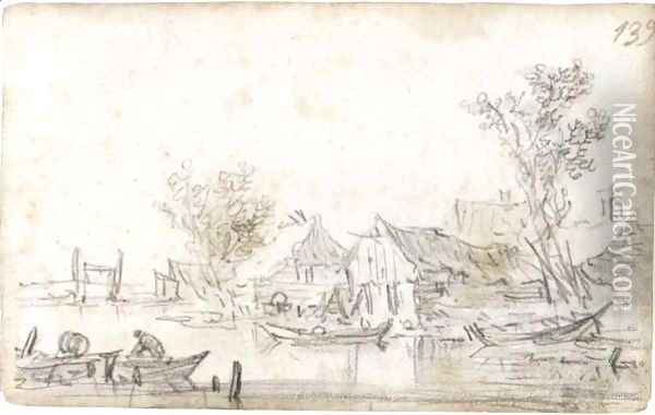 Houses By A Riverbank With Trees, With A Man In A Rowing-Boat In The Foreground Oil Painting - Jan van Goyen