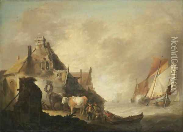 A Coastal Scene With Fishing Vessels In Stormy Seas, Figures With Cattle Before A House On The Shore Oil Painting - Jan van Os