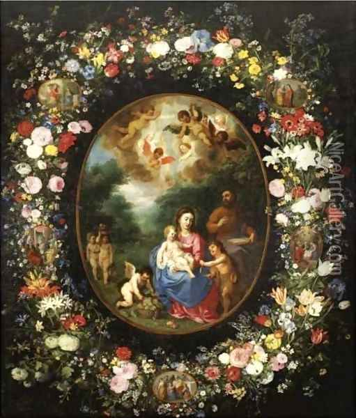 The Holy Family With The Infant Saint John The Baptist And Angels In A Landscape, Within A Garland Of Flowers Oil Painting - Jan Brueghel the Younger