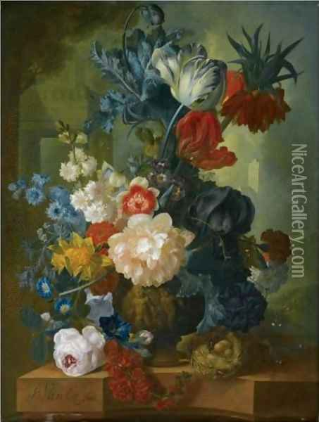 Still Life With A Bouquet Of Flowers In A Sculpted Vase, Including A Parrot Tulip, Morning Glory Oil Painting - Jan van Os