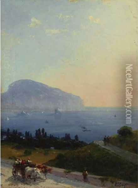 Travellers On The Crimean Coast Oil Painting - Ivan Konstantinovich Aivazovsky