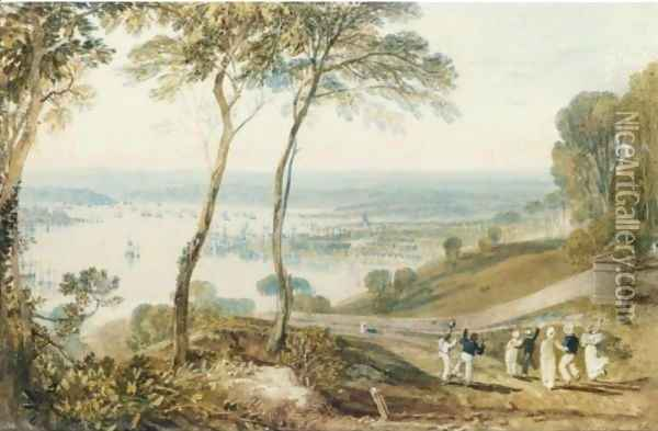 Plymouth, From Mount Edgcumbe Oil Painting - Joseph Mallord William Turner