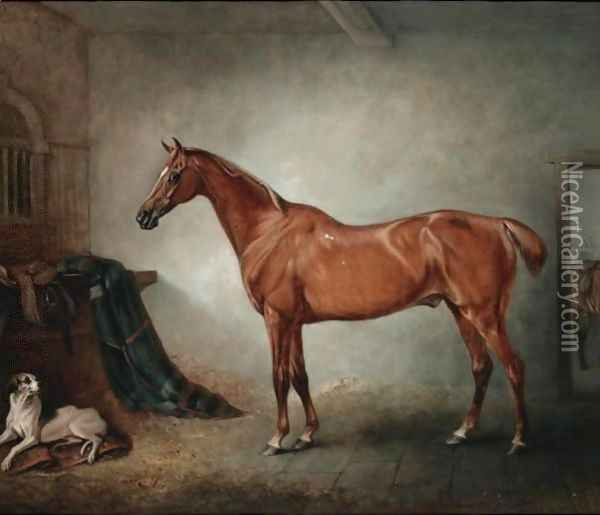 Firebird, A Chestnut Hunter, And Policy, A Foxhound, In A Loose Box, Oil Painting - John Snr Ferneley