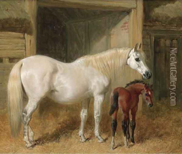 A Grey Mare And Her Foal In A Loose Box Oil Painting - John Frederick Herring Snr